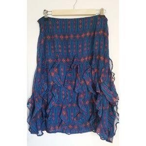 Sundance 100% Silk Blue Ruffle Skirt Size 10